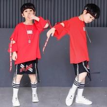 Children Street Dance Costumes Summer Red Hip Hop Tshirt And Black Shorts Kids Clothing Sets For Boys Girls
