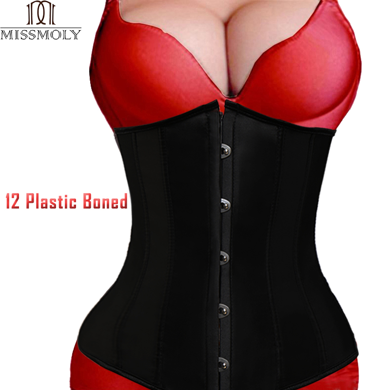 Women Sexy   Corsets     Bustiers   Lace Up Waist Trainer With Zipper Gothic Underbust Cincher Body Shaper Corselet Plus Size Halloween