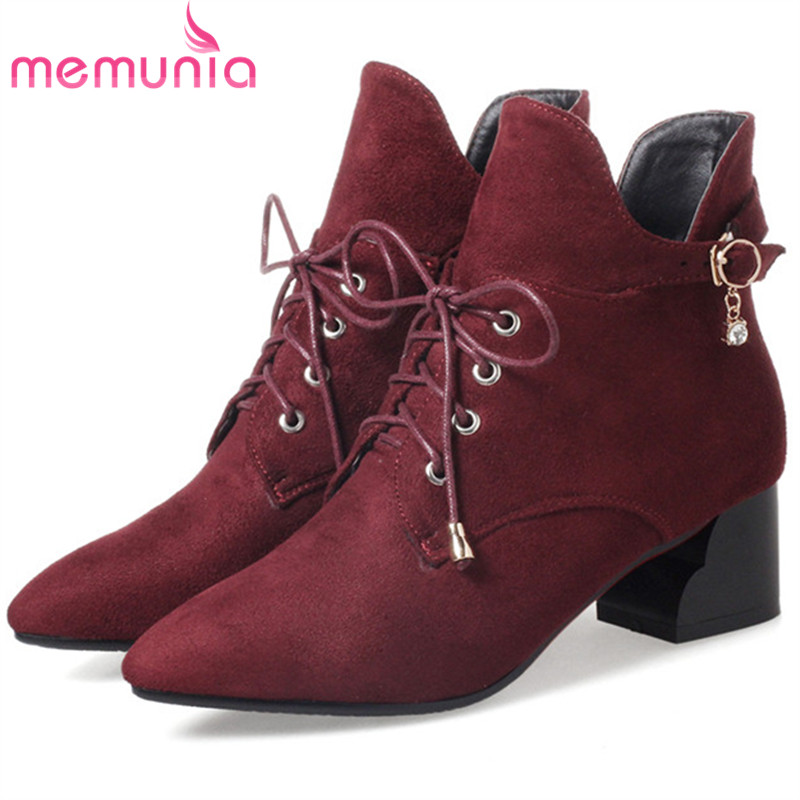 MEMUNIA Spring autumn 2018 new arrive ankle boots for women flock zipper solid high heels boots woman fashion shoes size 34-43 memunia new arrive hot sale genuine