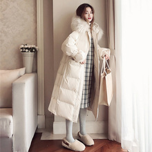 Real Raccoon Fur Collar 2019 Women Winter Jacket White Duck Down Jacket Thick Long Down Coat Female Hooded Parka Plus Size 4XL