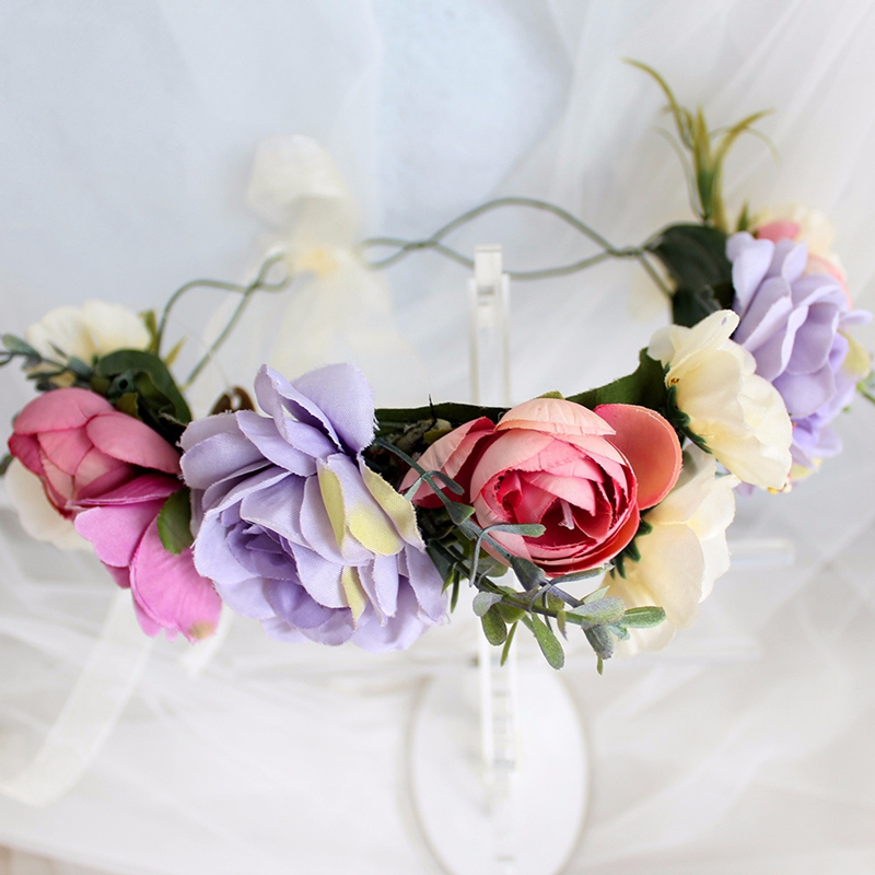 HIYONG European Style Flower Wreath Artificial Wreaths Flower for Head Wedding Floral Headband Garland with Ribbon Adjustable in Hair Jewelry from Jewelry Accessories