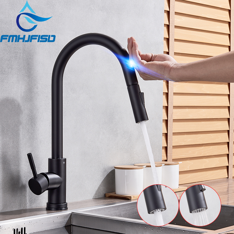 FMHJFISD Sensor Kitchen Faucets Black Touch Inductive Sensitive Faucets Mixer Water Tap Single Handle Dual Outlet