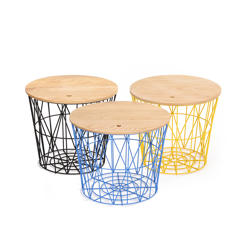 20 Inch Round Magazine Storage Wire Coffee Table In Coffee