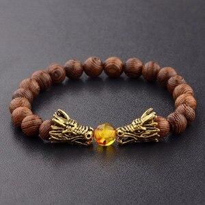 Image 1 - Bransoletka z koralików drewnianych s medytacja złoty i srebrny kolor bransoletka z koralików smoka kobiety biżuteria modlitewna joga Dropshipping