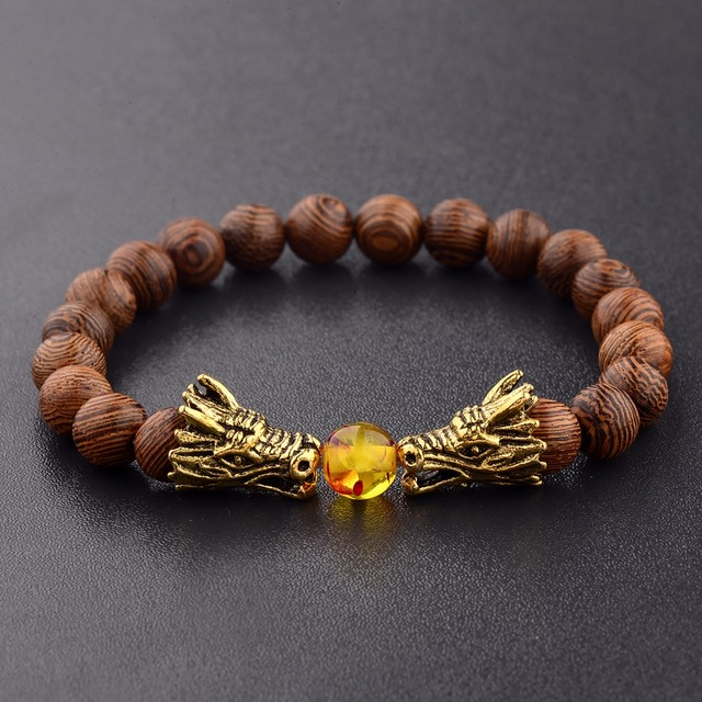 Bransoletka z koralików drewnianych s medytacja złoty i srebrny kolor bransoletka z koralików smoka kobiety biżuteria modlitewna joga Dropshipping