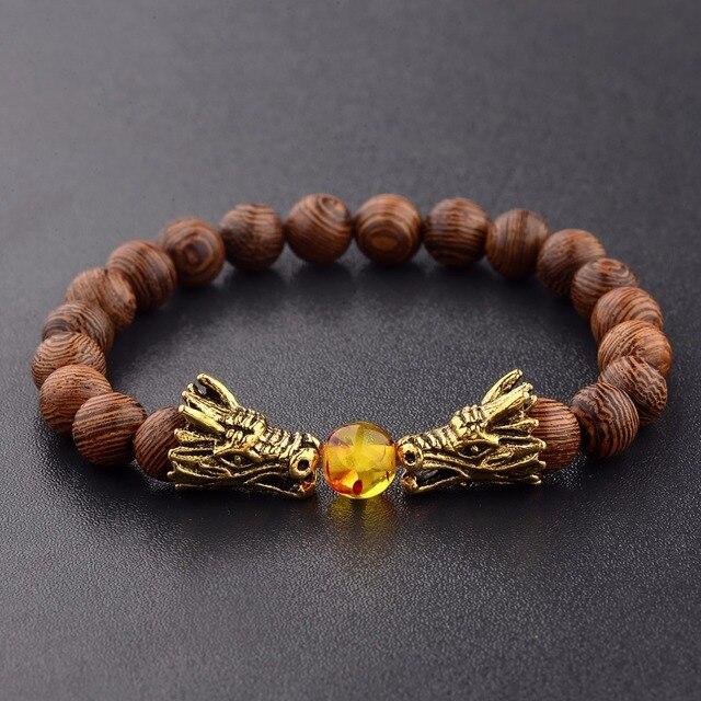 Wood Beads Bracelets Meditation Gold&Silver Color Dragon Beads Bracelet Women Prayer Jewelry Yoga Dropshipping