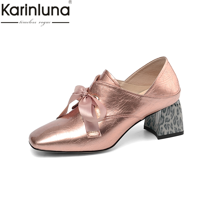 Karinluna Genuine Leather Plus Size 43 Chunky Heels 2019 Brand New Elegant women s Pumps Office