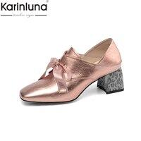 Karinluna Genuine Leather Plus Size 43 Chunky Heels 2019 Brand New Elegant women's Pumps Office Lady Classics women's Shoes
