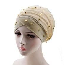 muslim women velvet inner hijab plain beads turban caps headscarf islamic femme bandana tesettur