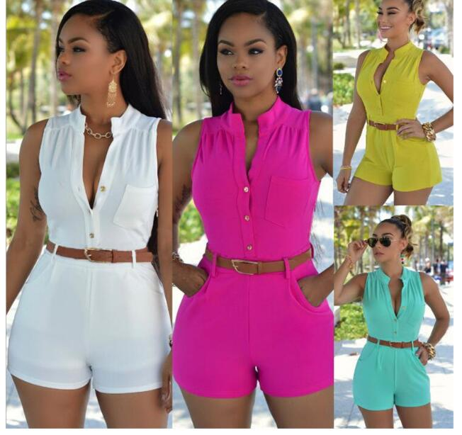 Women Girls Sexy Off Shoulder Button Decoration Waist Belted   Jumpsuit   Woman Playsuit 11 Color Optional Plus Sizes XXL