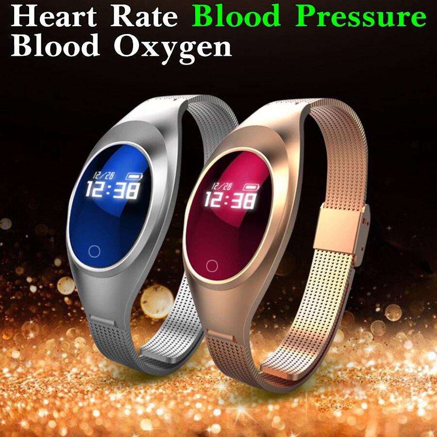 imágenes para Mujeres de la manera de la presión arterial de oxígeno monitor de ritmo cardíaco smart watch ios android smartwatch inteligente a prueba de agua reloj reloj de la aptitud