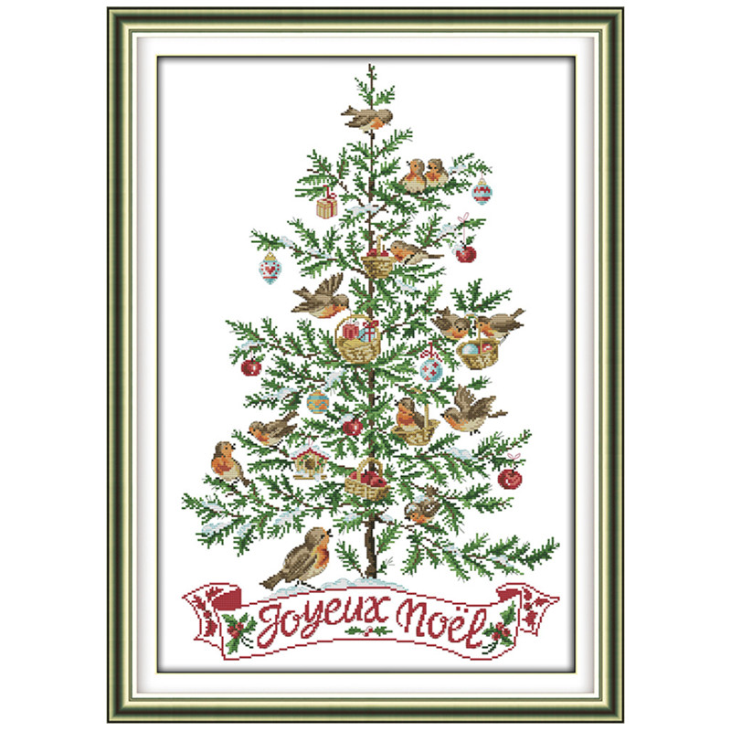 Everlasting love The Christmas tree with birds Chinese cross stitch kits Ecological cotton stamped DIY gift new year decorations