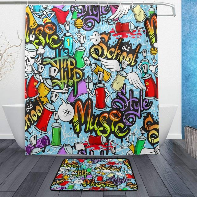 Cute Music School Hip Hop Blue Shower Curtain And Rug Set Waterproof Polyester Bath