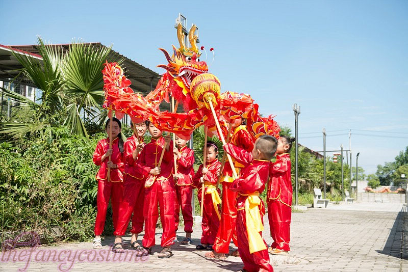 ebe7dbeb5 5.5M 6 children size CHINESE DRAGON DANCE silk Folk Festival Costume 6  children play party costume stage props dragon game