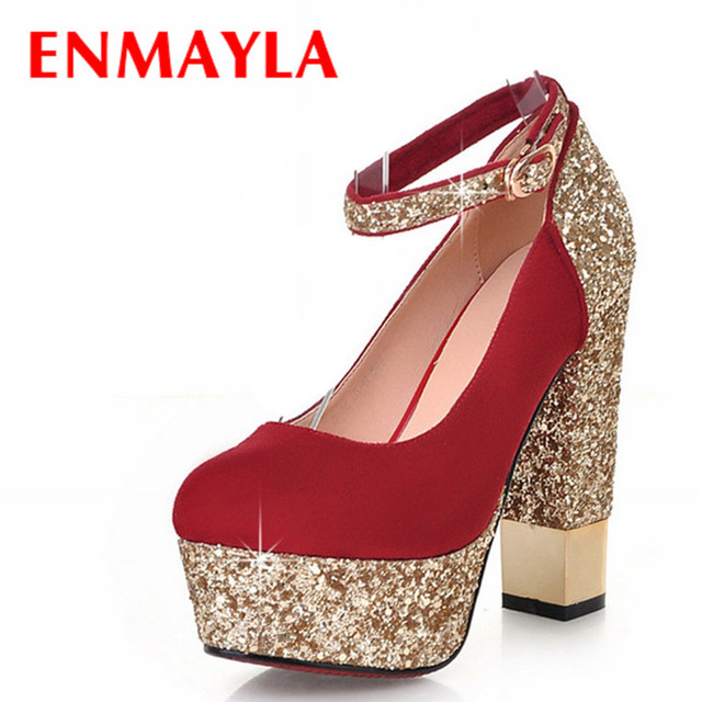ENMAYLA Elegant Round Toe Square Heel Women Pumps Sparkle Platform Pumps  Women Sexy High Heels Strappy Glitter Women Shoes Red 625c4d172b