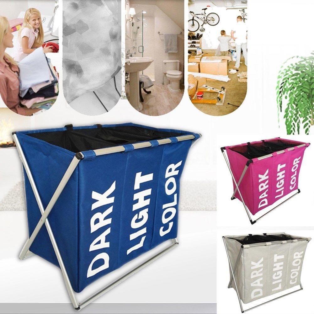 Folding Laundry Hamper Washing Storage Basket Bag 3 Section Foldable Fabric Laundry Hamper