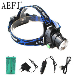 LED XML-T6 or XM-L2 10W Zoom Headlamp Headlight Zoomable 3-Mode Head Flashlight Torch Lamp Light +18650 Battery+Charger