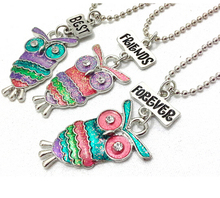 Best Friends Forever BFF pendant charm beaded chain multi mix colorful epoxy glitter glass kids cute lovely owl necklace 3pc set