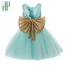 цена на  Girls summer dress Sleeveless Bow Lace Tulle Princess Wedding Elegant toddler Dresses Kids Party Dresses for Girls Clothes