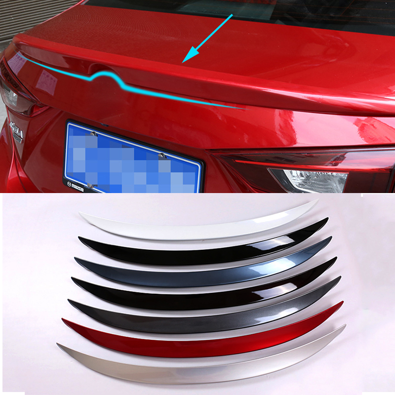 1pc ABS Tail Rear Trunk Spoiler Wing Decoration Cove Car Accessories For Mazda Axela 2014 2015 2016 car rear trunk security shield cargo cover for volkswagen vw tiguan 2016 2017 2018 high qualit black beige auto accessories