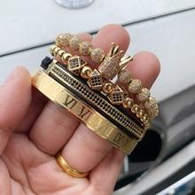 4pcs/Set Luxury Copper beads King Crown Men Bracelet Stainless steel bangle CZ Ball macrame bracelets & bangles for Men Jewelry цена в Москве и Питере