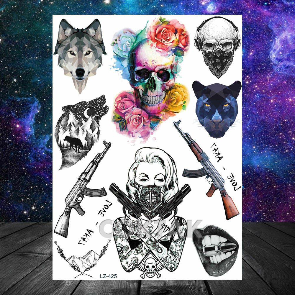 Coktak Sexy Maschera Donne Tatuaggi Temporanei Gangster Pistola Agente Della Ragazza Tatuaggio di Arte di Corpo Impermeabile Falso Braccio Cranio Autoadesivo Del Tatuaggio per uomini