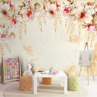 Europe Style Murals Hand Painted Pink Florals Wallpaper American Vintage Pastoral Flower Wall Papers For Living