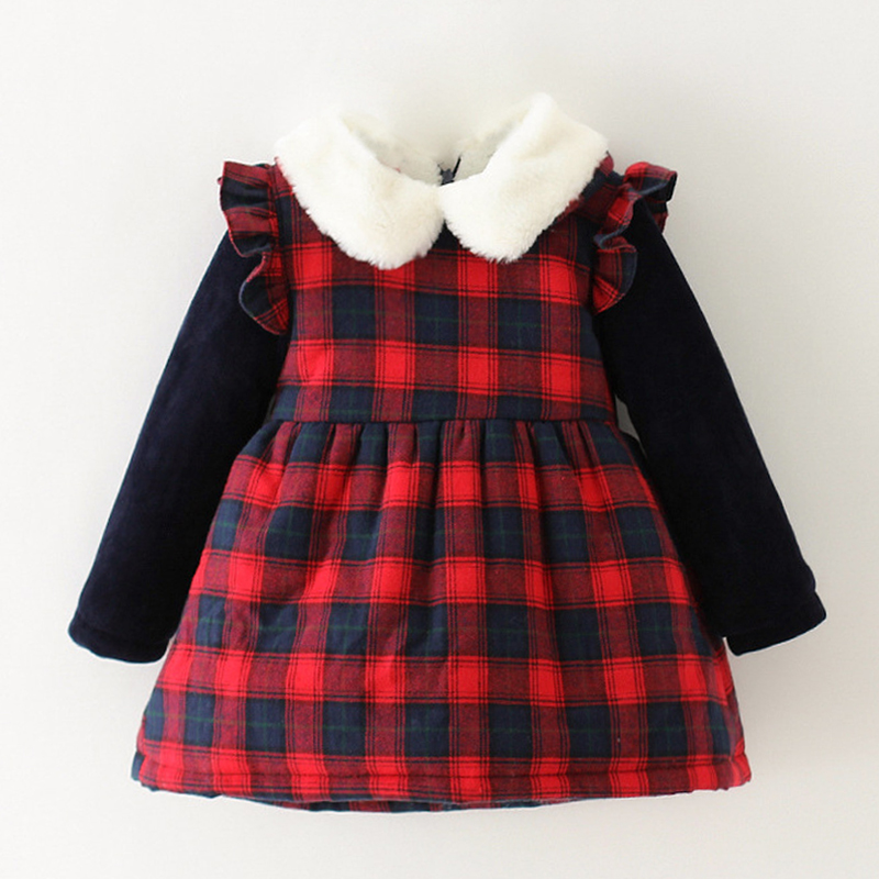 Baby Girls Winter Dresses Thick Flannel Children's Dress Plaid Girls Long Sleeve Dress Cotton Toddler Clothing Kids Dresses 1-3Y toddlers girls dots deer pleated cotton dress long sleeve dresses
