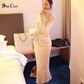 Estilo coreano Mulheres Camisola De Malha Vestido Maxi Ocasional Vestido de Gola Bodycon Lápis Vestidos Vestidos 2016 Senhoras Inverno Quente Longo vermelho