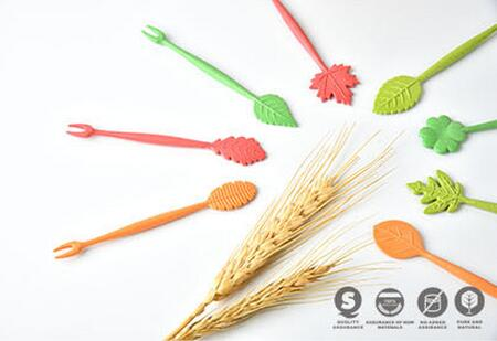 Fashion Hot 16pcs Green Biodegradable Natural Wheat Straw Leaves Fruit Fork Set Party Cake font b