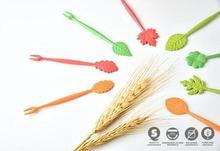 Fashion Hot 16pcs Green Biodegradable Natural Wheat Straw Leaves Fruit Fork Set Party Cake Salad Vegetable