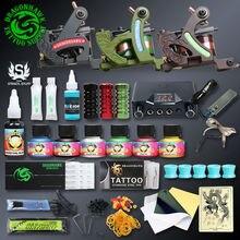 Professional Tattoo Kits Top Artist Complete Set 3 Tattoo Machine Gun Lining And Shading Tattoo Inks Power Needles Tattoo Supply