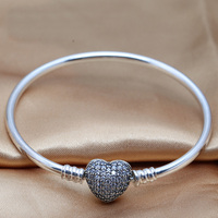 Authentic 925 Sterling Silver Bead Charm Moments Pave Heart Clasp Crystal Beads Fit Pandora Women Bracelet Bangle DIY Jewelry