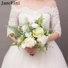 JaneVini 2019 Romantic White Bridal Flower Bouquet Country Style Artificial Silk Roses Brides Wedding Fake Bouquet Ramo De Novia(China)