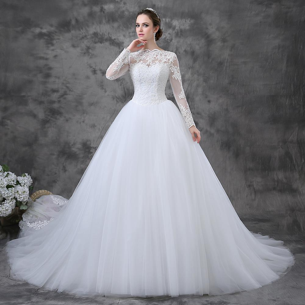 Elegant Long Sleeve Wedding Gowns: Elegant Ball Gown Long Train Lace Modest Wedding Gowns
