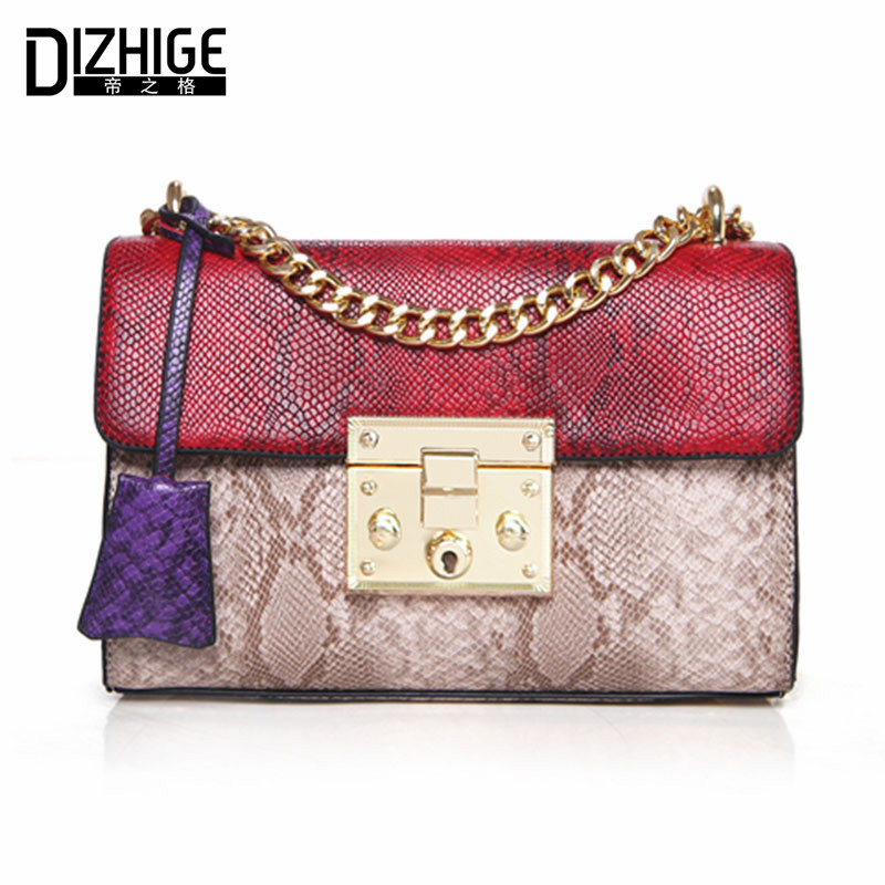 DIZHIGE Brand Famous Serpentine Women Messenger Bags Chain Crossbody Bags Women Sepuined Lock Ladies Shoulder Bag Summer 2017