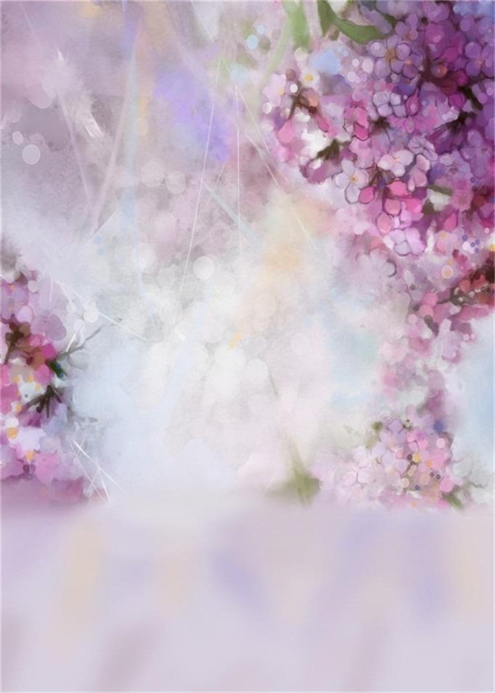 Photography Backdrop Abstract Watercolor Painting Spring Pink Apricot Tree Bloom Flower Blur Bokeh