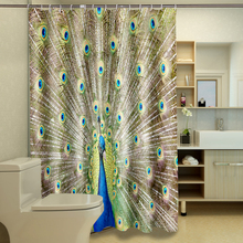 Nature Animal 3D Shower Curtains Peacock Flaunting Its Tail Bathroom Curtain Waterproof Thickened Bath Customizable