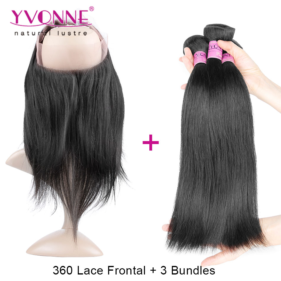 ФОТО 360 Frontal With Bundles, Brazilian Straight 360 Lace Virgin Hair with Bundles, Top Quality YVONNE Hair Products
