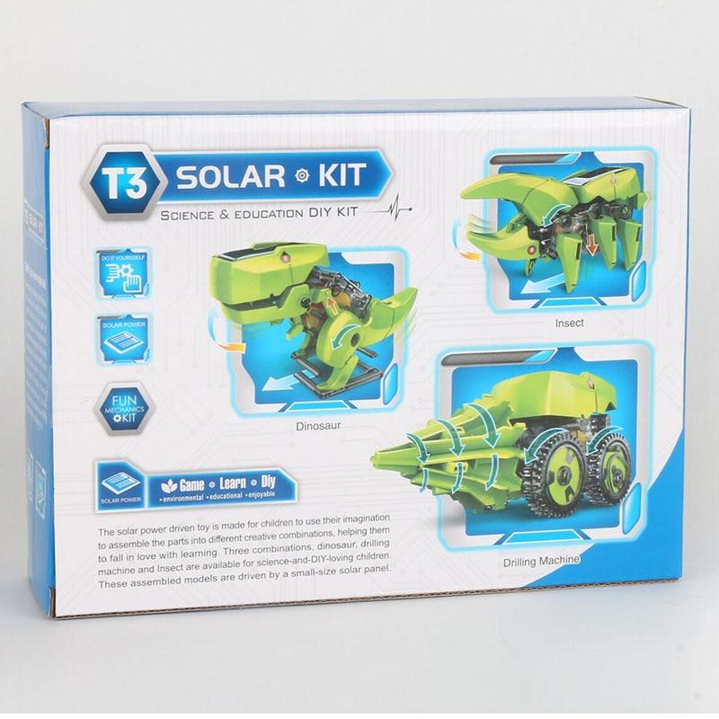 3 In1 Dinosaur Solar Energy Robot Robotic Kits Kids Science DIY Assembly Novelty & Gag  Models Solar Powered Toys For Children