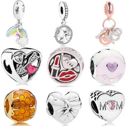 Pulsera de Dodocharms, nuevo regalo, pulsera de chica, Collar de plata, azul, forma de corazón, compatible con Pandora, joyería Original