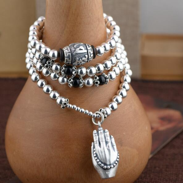 NEW 925 Silver Tibetan Mala Sterling 108 Beads Buddhist Prayer Rosary Beads Tibetan 108 Beads Mala OM Beaded Buddha Hands Amulet bro904 tibetan 108 beads kingkong bodhi mala 10 11mm fine prayer beads rosary low moq