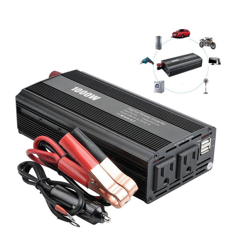 1000w Red Vehicle Dc12v-ac220v Led Power Inverter Converter 4usb Ports Universal Controlador Electric Vehicle Parts