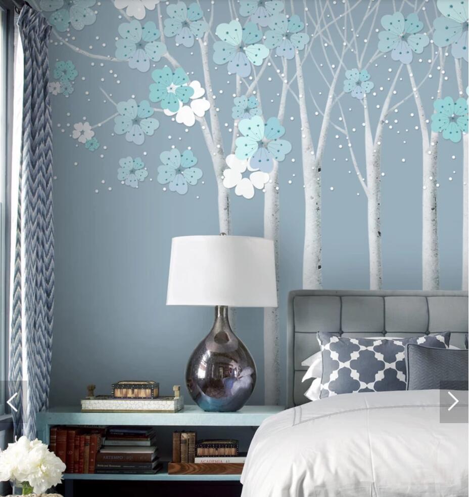 3d Vintage Cherry Blossom Flower Printed Wallpaper Bedroom Wall