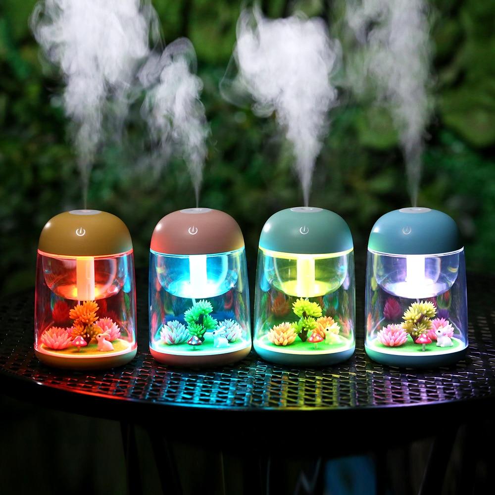 все цены на LED Night Light Air Diffuser Colorful Changing Mini Aroma Humidifier Bedroom Office Car Sleeping Creative Atmosphere Night Lamp онлайн