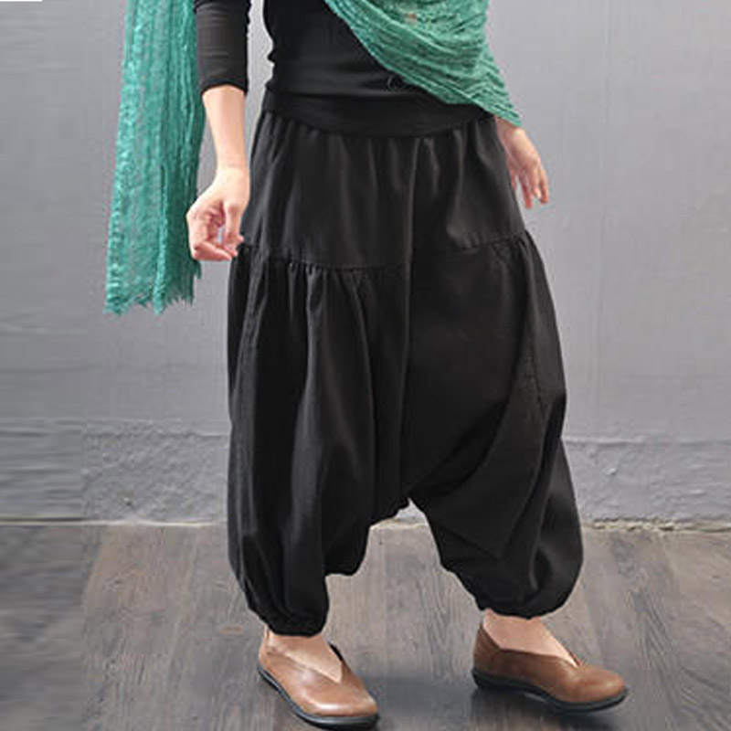Zanzea Baggy Loose Drop-Crotch Long Pantalon Mid Elastic Waist Cotton Linen Harem Pants  ...