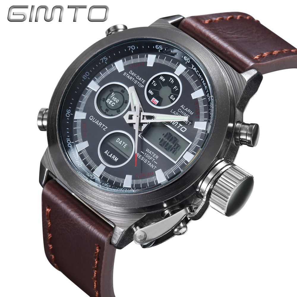 GIMTO Men Sport Watch Digital LED Military Army Watch Multifunction Waterproof Diving Leather Nylon Male Casual Quartz Watches