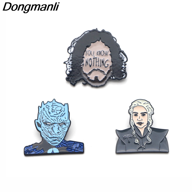P3083 Dongmanli Game of Thrones You Know Nothing Metal Enamel Pins and  Brooches for Women Men Lapel Pin backpack bags Hat badge