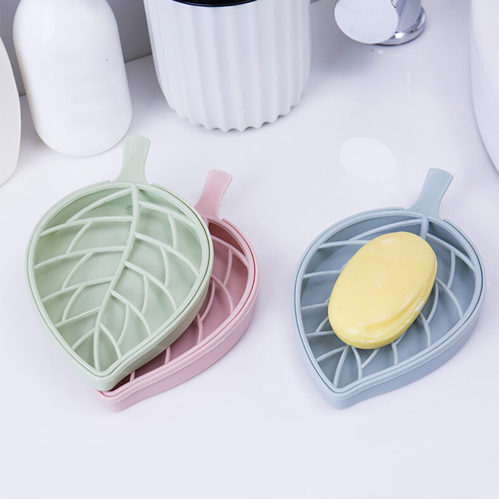 Bathroom Shower Leaf Shape Soap BoxSoap Holder Dish Bathroom Shower Storage Support Plate Stand Wood Box Natural Soap Dishes #F
