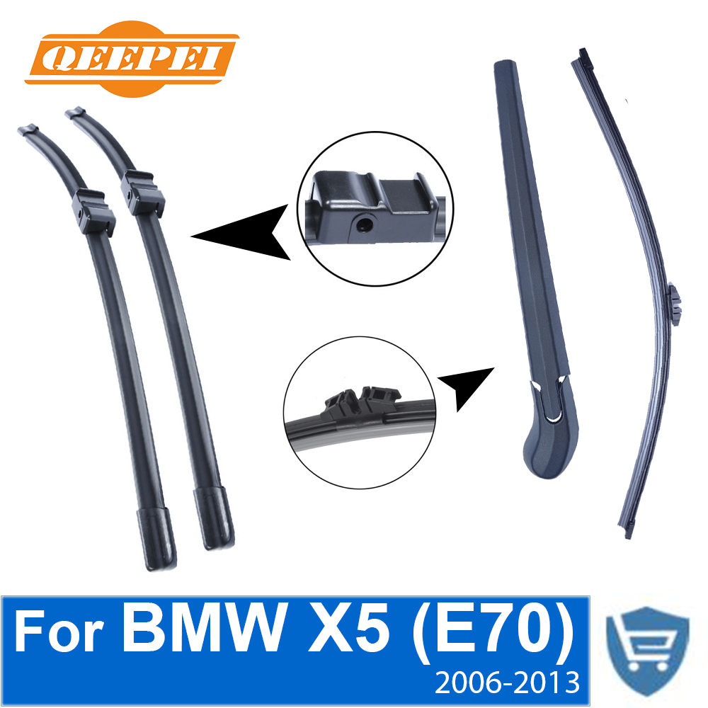 QEEPEI Front and Rear Wiper Blade Arm For BMW X5 E70 2006-2013 5 Door SUV High quality Natural Rubber Windscreen wiper blades for bmw x5 e70 24